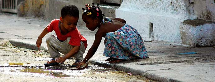 Cuban kids playing in Centro Havana